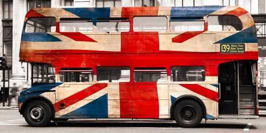 Union jack double-decker bus, London