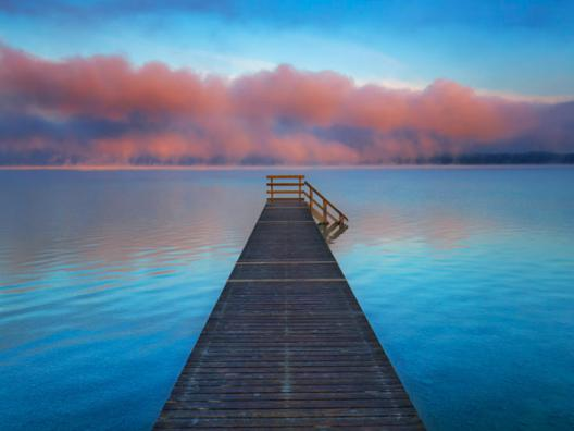 Boat ramp and fog bench, Bavaria, Germany