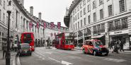 Buses and taxis in Oxford Street, London