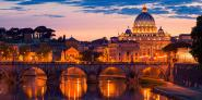 Night view at St. Peter´s cathedral, Rome