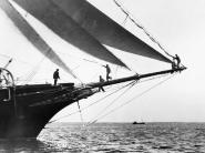 Ship Crewmen Standing on the Bowsprit, 1923