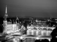 Paris and Seine river at night