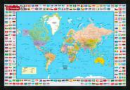 World Map Flags Black