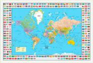World Map Flags White