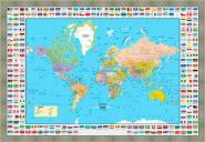 World Map Flags Silver